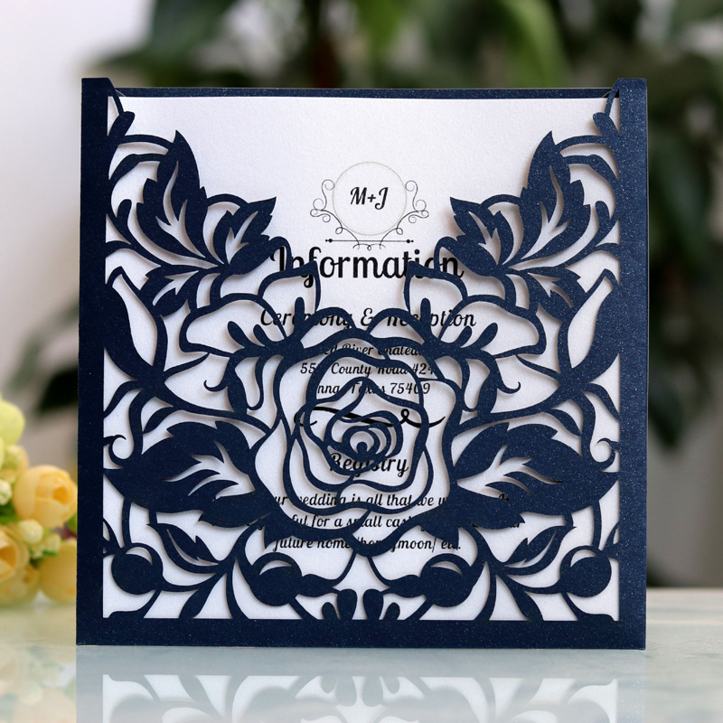 50pcs White Blue Laser Cut Wedding Invitations Card Paper Elegant Greeting Card Favor Customize Wedding Event Party Decorations