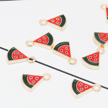 20pcs/pack Gold Color Tone Fruit Watermelon Charms for Jewelry Making DIY Enamel Charms Metal Alloy