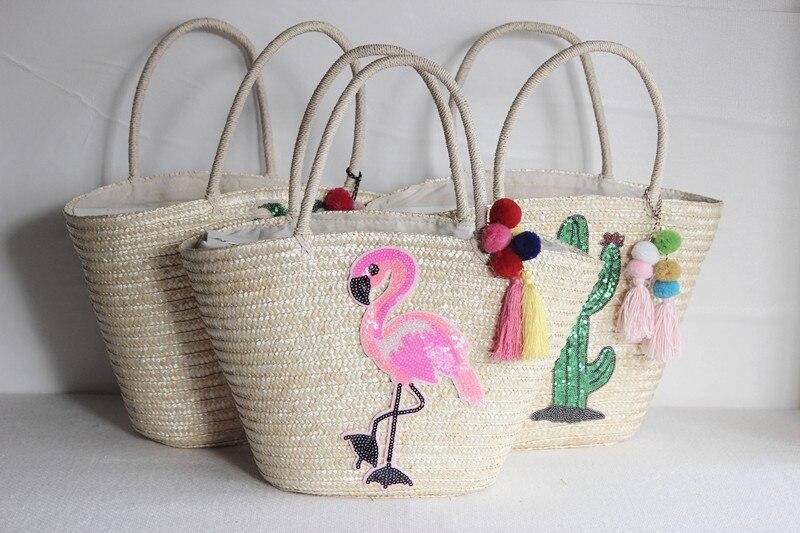 47xCM 2018 New Wheat Grass Sequins Bag Women Summer Straw Bag Holiday Bag A5297
