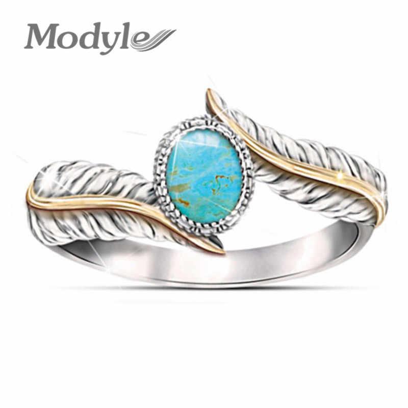 Modyle 2018 ใหม่ Punk Vintage เงินสี Feather แหวนผู้หญิงสีเขียวขนาดใหญ่หิน Dropshipping