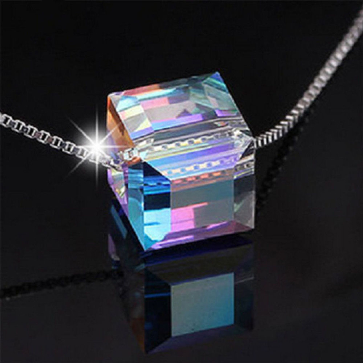 Colorful Cube Square Crystal Pendant Necklace Silver Color Jewelry Box Cube Rhinestones Choker Statement Necklace Cute Collares
