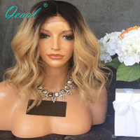 Indian Temple Virgin Hair Full Lace Wigs Ombre Blonde Wavy Human Hair Wigs Pre Plucked Hairline 130% Density Middle Part Wig