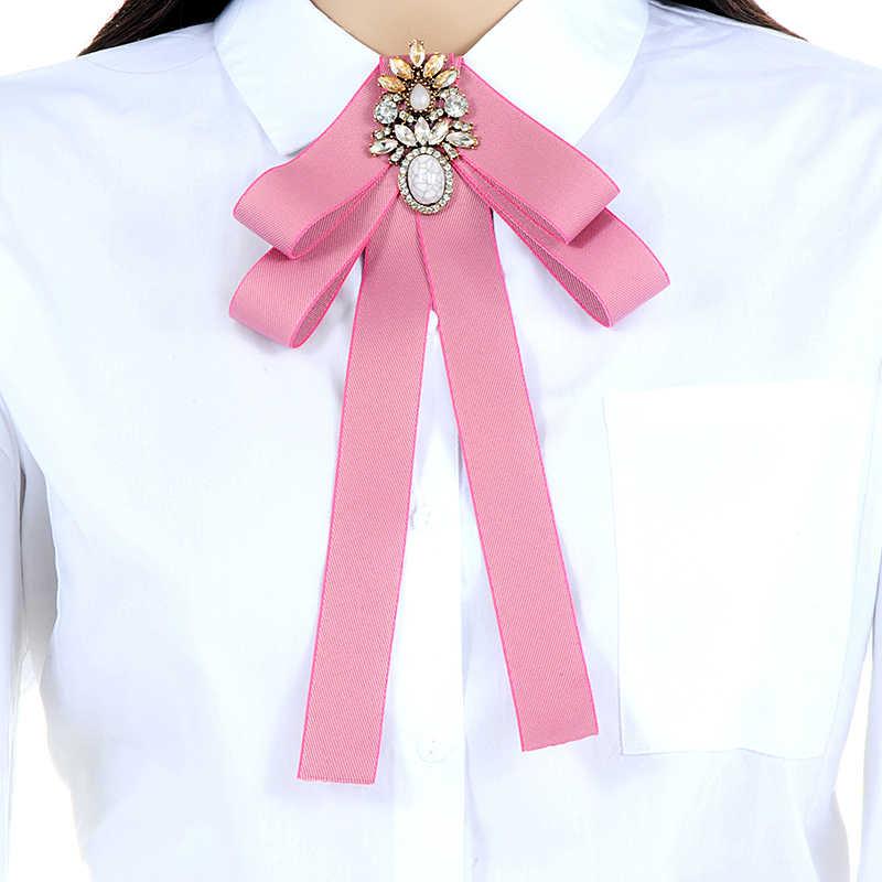 ZHINI Nuova Annata di Modo Elegante Navy Zircone Ovale Distintivo Camicia di Vestito Spille Spille Bow Tie Dress Collare Accessori Dei Monili Delle Donne