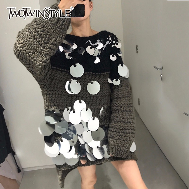 TWOTWINSTYLE Sequins Sweater Female Hollow Out O Neck Lantern Sleeve Patchwork Spring Pullover Tops For Women