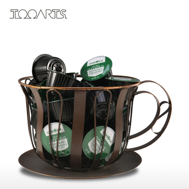 Tooarts Metal Coffee Pod Container Bowl Espresso Holder Mug Storage Jar Kitchen Basket Home