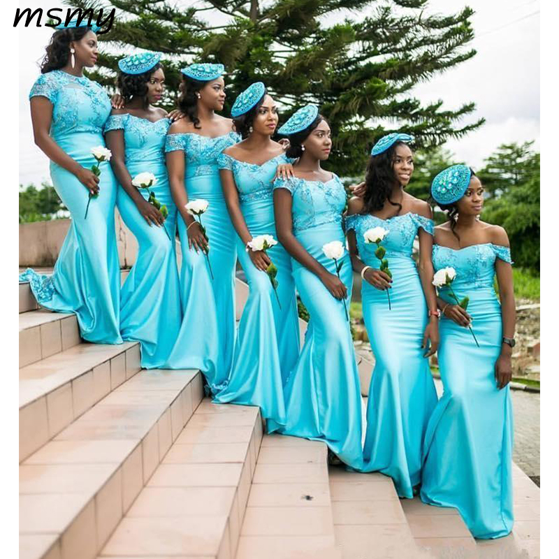 Elegant Vestido Off The Shoudler Mermaid Long   Bridesmaid     Dresses   Satin Appliques Floor Length Wedding Party   Dresses