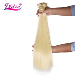 Image 4 - לידיה סינטטי יקי ישר שיער Weave עם כפול ערב 613 # בלונד שיער חבילות 16 inch 20 inch 4 יח\אריזה עם משלוח סגירה