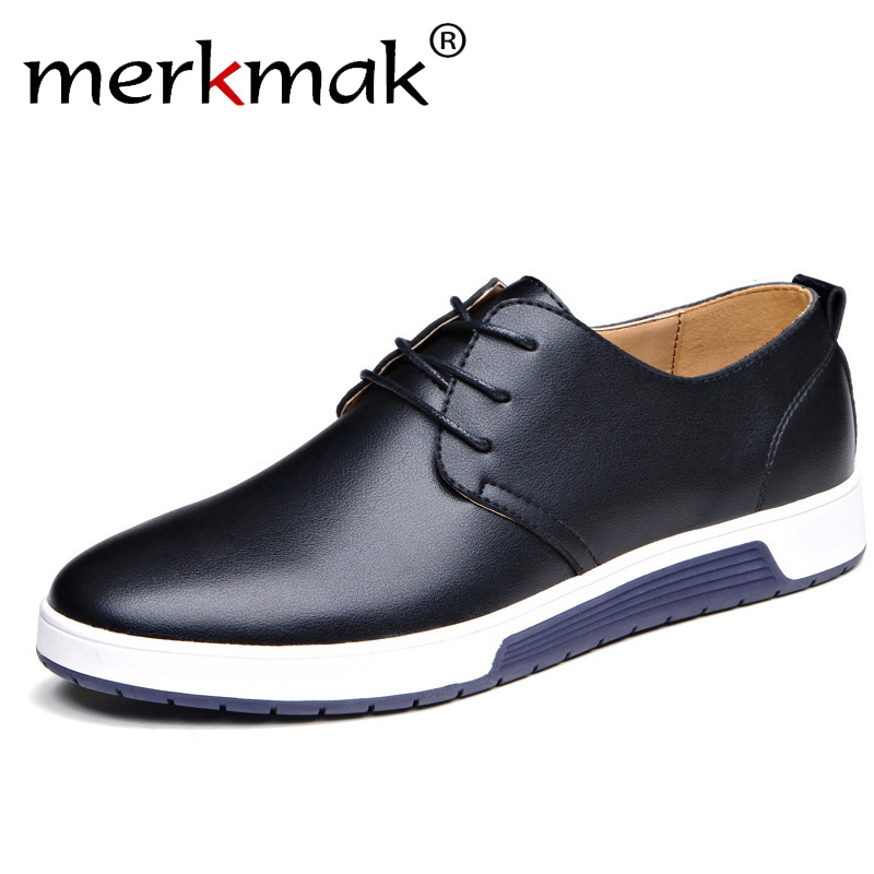Merkmak Brand Men Shoes Casual Leather Fashion Trendy Black Blue Brown Flat Shoes For Men Drop Shipping