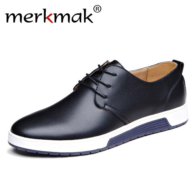 Merkmak Homens De Luxo Da Marca Sapatos Casuais Sapatos de Couro Moda Moda Preto Azul Marrom Sapatos Baixos para Os Homens o Transporte Da Gota