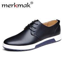 Merkmak/Роскошная брендовая мужская обувь, повседневная кожаная модная черная, синяя, коричневая обувь на плоской подошве для мужчин, Прямая поставка