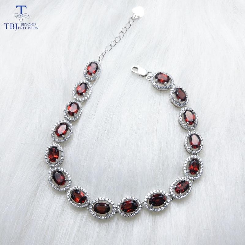 TBJ Elegant natural gemstone bracelet with 100 natural Red garnet in 925 sterling silver white color