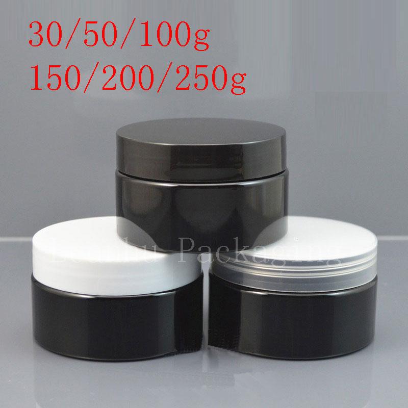 30ml 50ml 100ml 150ml 200ml 250ml Empty Black Cosmetic Cream Jars PET Container Powder Mask Cream