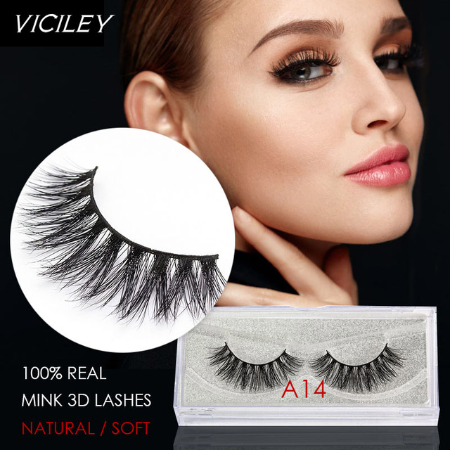 Viciley Mink Lashes 3d Mink Eyelashes Natural False Eyelashes 1 Pair