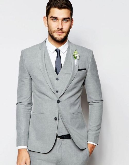 2017 Latest Coat Pant Design Grey Tuxedo Wedding Suits Slim Fit Skinny 3 Piece Custom Men