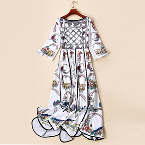 Image 4 - AELESEEN Summer Bohemian Women Long Dresses Luxury Flare Sleeve Runway Fashion 2019 Floral Print Asymmetrical Designer Dress