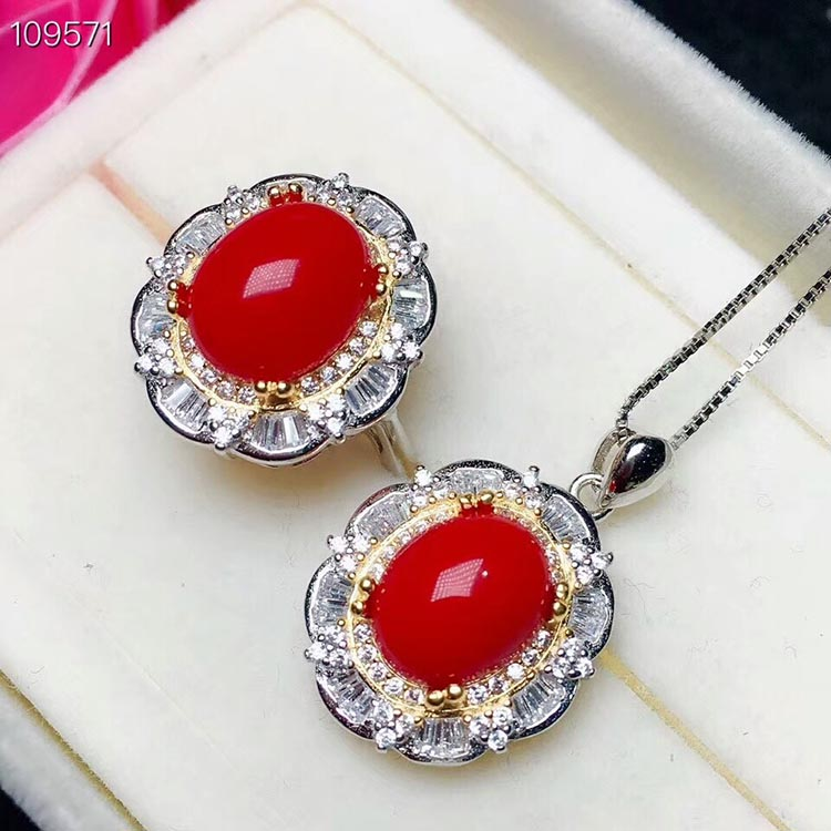 MeiBaPJ Natural Boutique Big Red Coral Jewelry Set 925 Pure Silver Ring Pendant Necklace 2 Suits