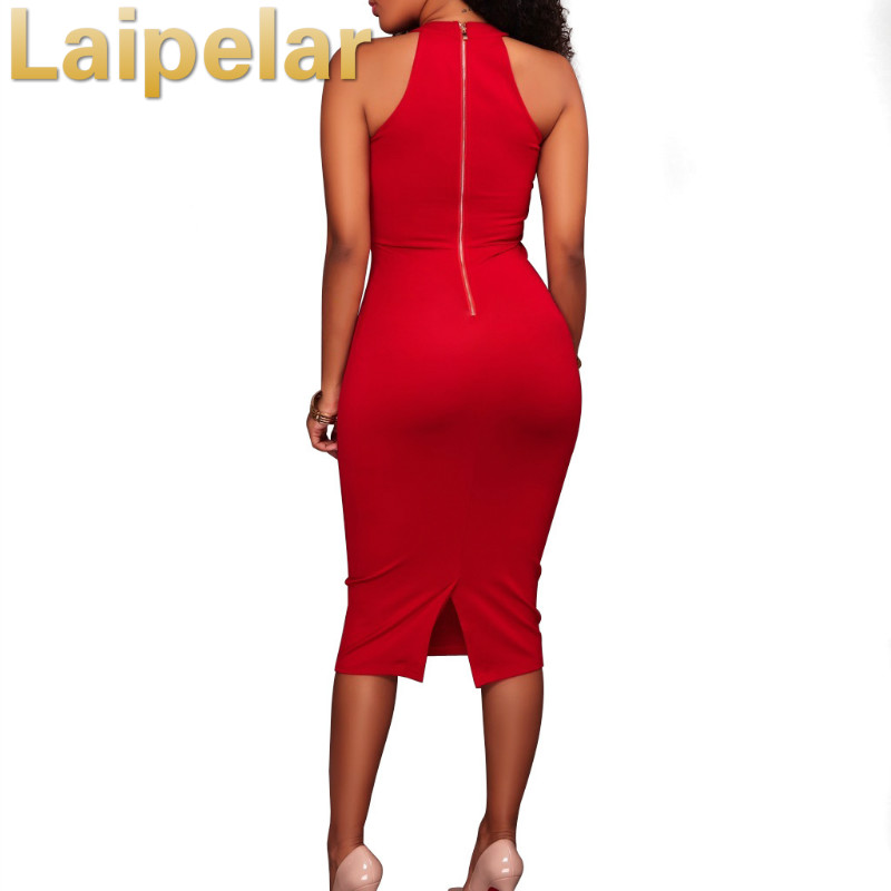 Laipelar2018 New Style Fashion Dress Women Vestidos Sexy Halter Women Party Dress Patchwork Elegant Lady Bodycon Slim Dresses in Dresses from Women 39 s Clothing