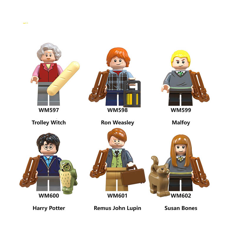 Single Sale LegoINGlys Harry Potters Moody Trolley Witch Ron Weasley Malfoy Remus John Lupin Susan Bones Building Toys Gifts