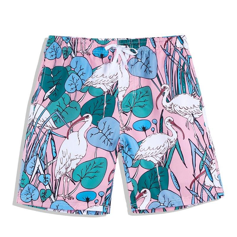 d175f22a28ca Verano grúa rosada impresa talla grande bañador corto bañador surf hombres  traje de baño playa ...