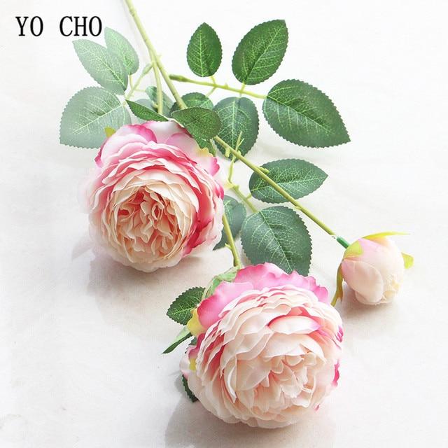 Yo Cho 3 Heads Yellow White Peonies Artificial Flowers Silk Rose Flower Wedding Decor For Home Fake