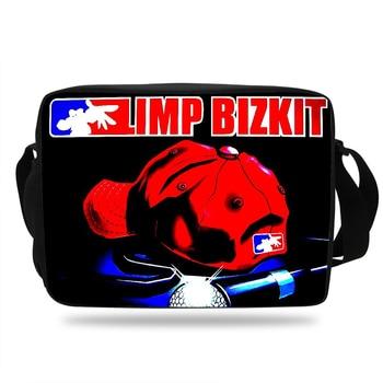 c5e607612a2b Модные Limp Bizkit дизайн школьные сумки для мальчиков-подростков сумка  через плечо для девочек Детская сумка-мессенджер сумка