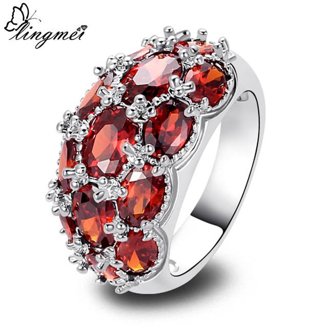 lingmei Wholesale Fashion Jewelry Garnet Silver Ring Size 6 7 8 9 10 11 12 13 No