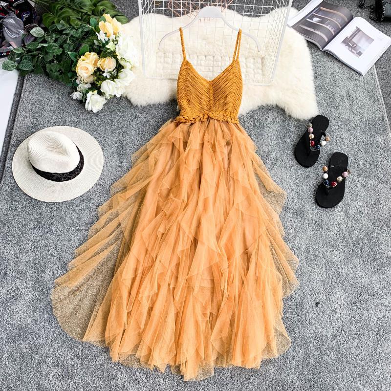 High Waist Mesh Hem Asymmetrical Pleated Tulle Dress 5