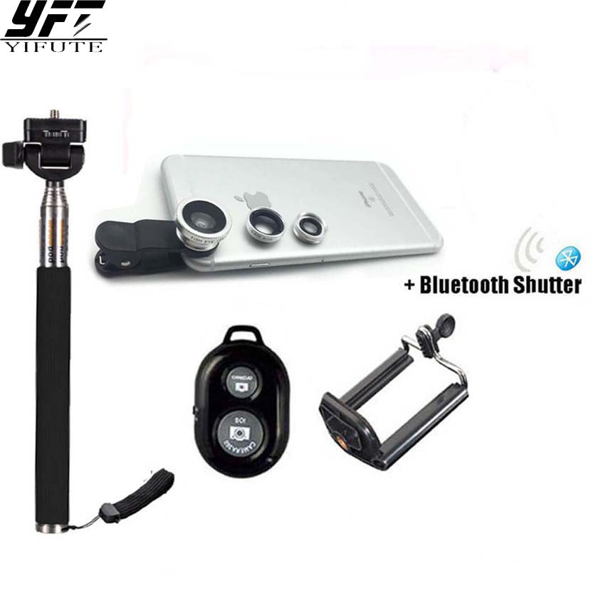 YIFUTE Universal clip On 3in1 Lens Kit Fisheye Wide Angle Macro Lens Selfie Stick With Bluetooth Remote For iPhone Samsung