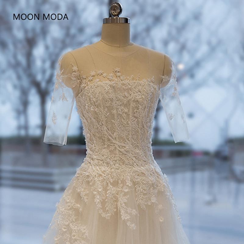 Long Half Sleeve Muslim Lace Wedding Dress High Quality