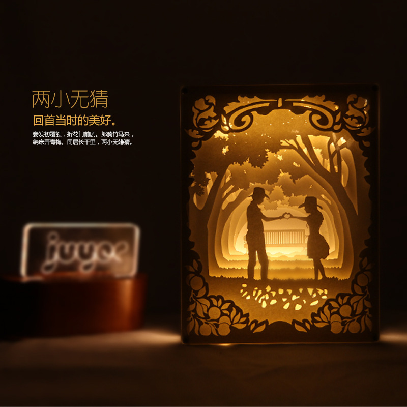Romantic Led 3D Table Light Paper Carving Lamp Projector Night lights Bedside Carved Decor Wedding memento Birthday gift  220V 3d happy birthday led night light remote control or touch switch 7 color changing bedside lamp decor birthday gift iy803345 4