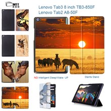"""MTT Trifold Cover For Lenovo tab 3 8 8.0 TB3-850F 850M Tab 2 A8-50F 50LC 8"""" tablet Magnetic Stand Print Horses PU Leather Case"""