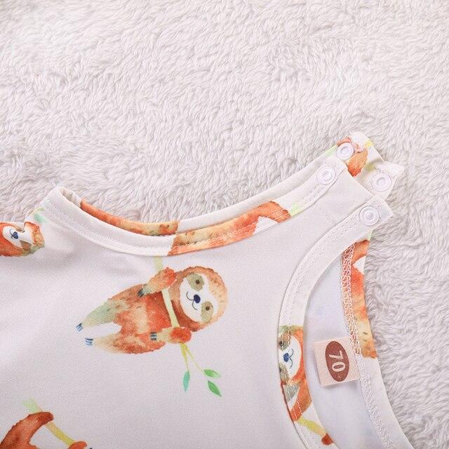 2018 Newborn Baby Rompers 2019 Summer sleeveless Cartoon sloth print Baby boy girl jumpsuit clothing 4