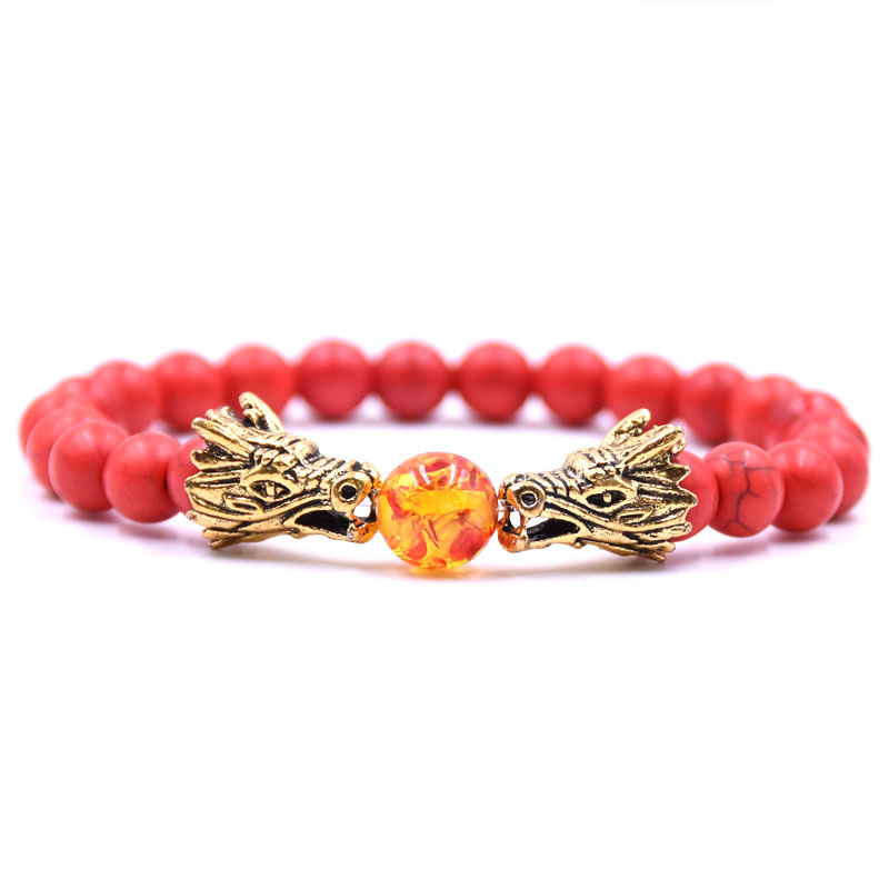 HYHONEY 8MM Natural Stone Beads Bracelet For Men bileklik Men Jewelry Dragon pulseras 11
