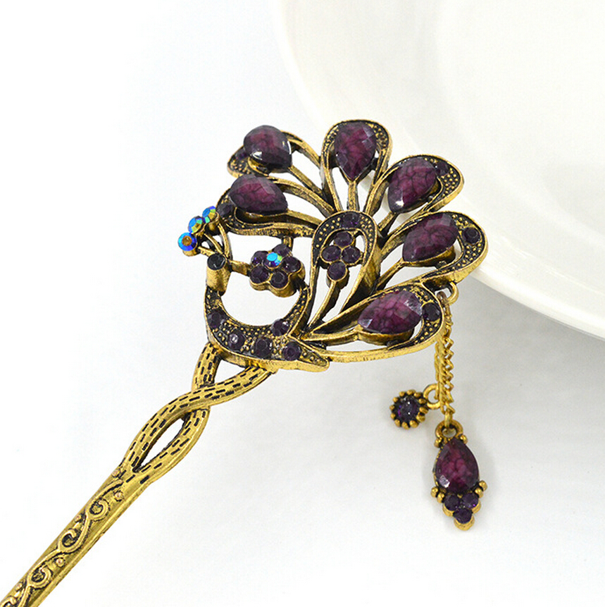 1Piece Vintage Hairpins with Peacock Pattern Retro Hair chopsticks for Women Hair Jewelry