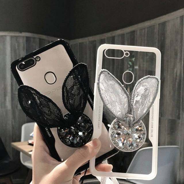 premium selection 7f3ae fb88f US $3.39 |For OPPO A3S A5 A3 F5 A7X Case Luxury Glitter Diamond Cover For  OPPO F9 F7 Lace Rabbit Ear Bowknot 3D Grip Stand Holder Cases-in Fitted ...