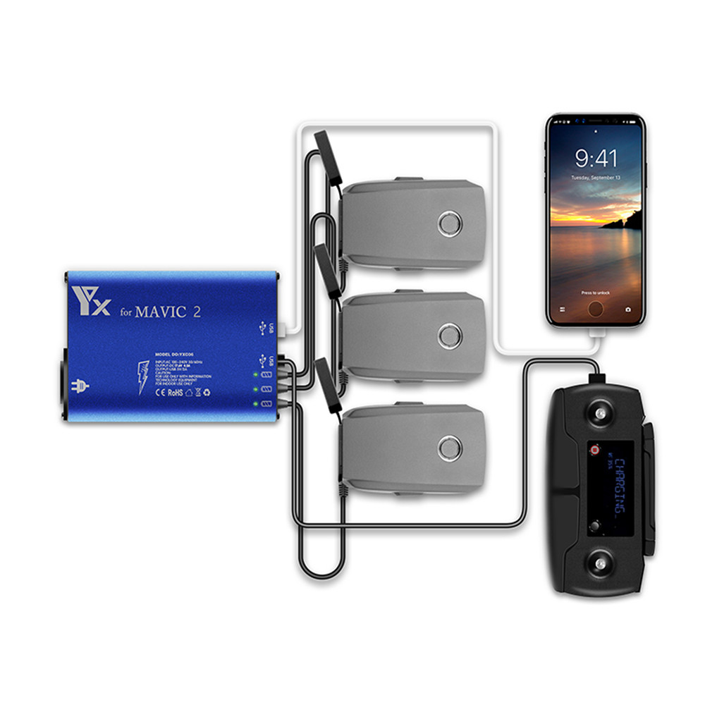 FOR Mavic 2 Pro/Zoom Battery Charger Hub 5 In 1 Charging Hub For Mavic 2 Drone Remote Controller & Battery & SmartPhone Charger