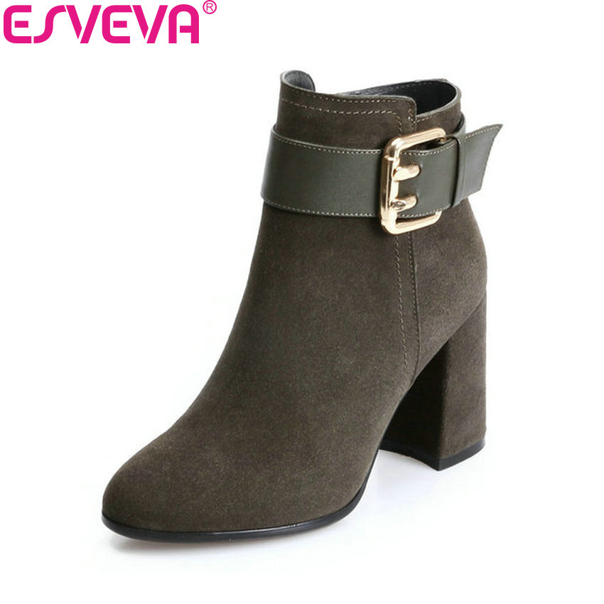 ESVEVA 2018 Women Boots Decoration Buckle Square High Heels Short Plush Round Toe Cow Suede Ankle Boots Ladies Boots Size 34-43 esveva 2018 women boots high heels short plush buckle ankle boots square heels chunky pointed toe sexy fashion shoes size 34 39