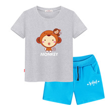 Short sleeve garments for ladies 2017 new T-shirts for boys sport go well with Clothes for boys kids chothes 2 12 months boys shorts Monkey