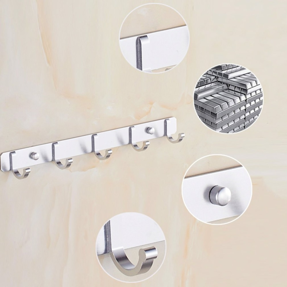 Fashion Space Aluminum Hook Bar Coat Hat Clothes Robe Holder Rack Wall Mounted 5 Hooks Hanger Organizer Bathroom Kitchen Storage