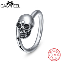 GAGAFEEL Ring For Male Genuine Sterling Silver Open Rings With Skeleton Skull 2MM Punk Unique Gift For Boys Evening Party
