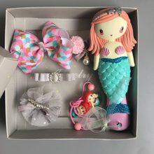 Free Shipping Princess Comb Hair Rope Headwear Set Ariel Cartoon 3D Stereo Air Cushion Comb Girl Necklace Headwear Hair Ring Set(China)