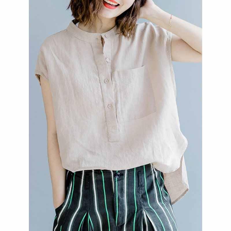 Женская блузка с разрезом 2019 летняя модная Корейская свободная хлопковая белая рубашка с круглым вырезом Длинные офисные женские топы без рукавов