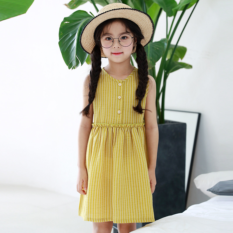 Kids Girls Dresses 2018 New Summer Yellow Solid Knee-length A-line Sleeveless O-neck Dress For 4T-16T Children Clothes 4ds207 2016 sale new knee length kids kids dresses for girls free shipping2013 fashion dance dressperformance wear costumes th3004c