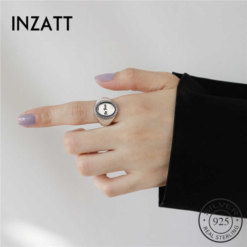 INZATT 2018 Genuine 925 Sterling Silver Minimalist Round Glossy Disc Openwork Ring For Women Party Vintage Fashion Jewelry Gift