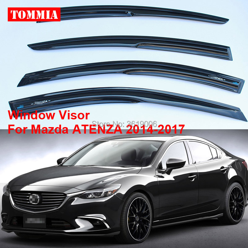 tommia For Mazda ATENZA 2014-2017 4pcs Window Visor Shade Vent Wind Rain Deflector Guards Cover window visor rain sun deflector shade guards 4pcs for land rover discovery 4 lr4 2015 2014 2013 2012 2011 2010
