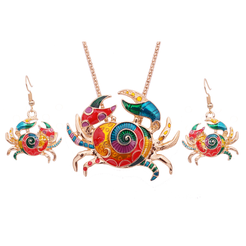 Gothic Enamel Crab Jewelry Set Gold Crab Statement