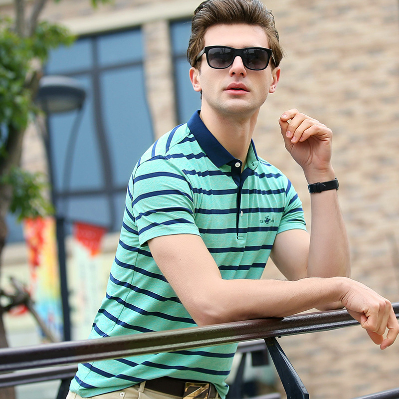 2018 High Quality   Polo   Shirt Men Summer Striped Brand Short Sleeve Cotton Embroidery Business Casual Plus Size XXXL Q3806