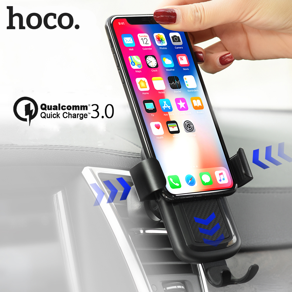 HOCO Wireless Charger Quick Charge 3.0 Fast Charging QC 3.0 for iPhone X 8 plus 360 Air Vent Mount Car Phone Holder for Samsung