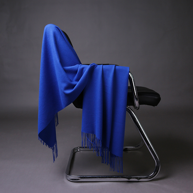 Women Solid Blue Cashmere Shaw Cashmere Scarves With Tassel Lady Winter Warm Scarf High Quality Female Party Outdoors Big Shawl