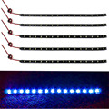 Confiável New 5 x 15 LED 12 V 30 cm Car Motor Vehicle flexível impermeável Strip luz azul Ma24